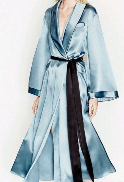 Long Sleeve Silk Robe with Belt - Amelie Baku Couture
