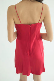V-Neckline Silk Mini Dress