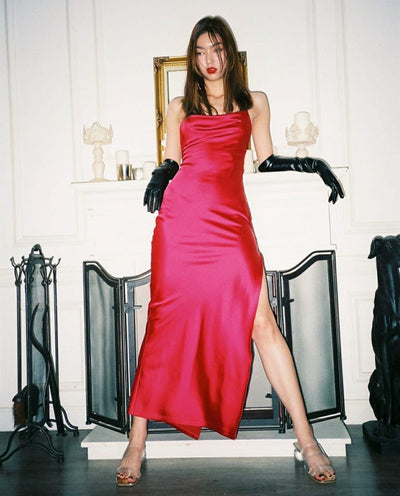 Strapped Satin Dress with Leg Slit - Amelie Baku Couture