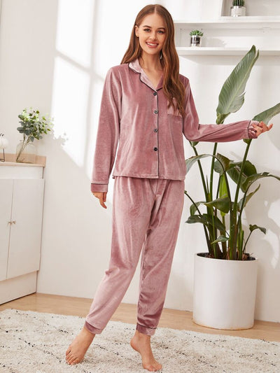 Long Sleeve Velvet Pyjamas Set