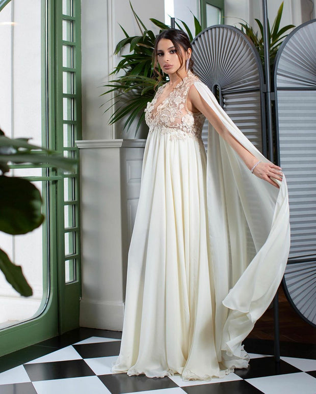 V-Neck Long Tulle Cape Medeina Gown Maternity