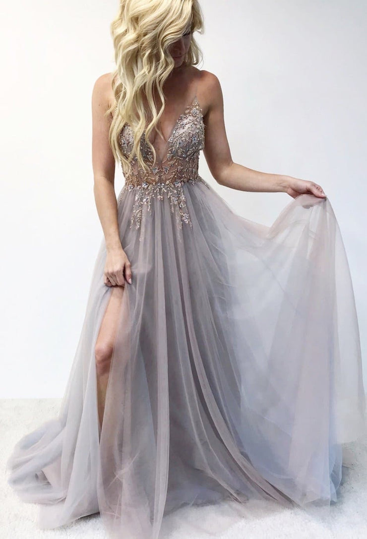 Floor length evening gown with cut-out in front