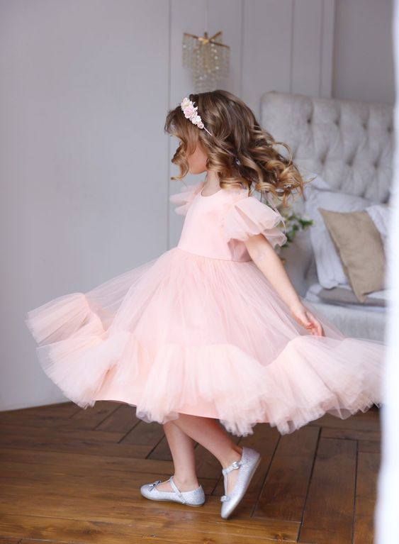 Flower girl dress with air wings - Amelie Baku Couture