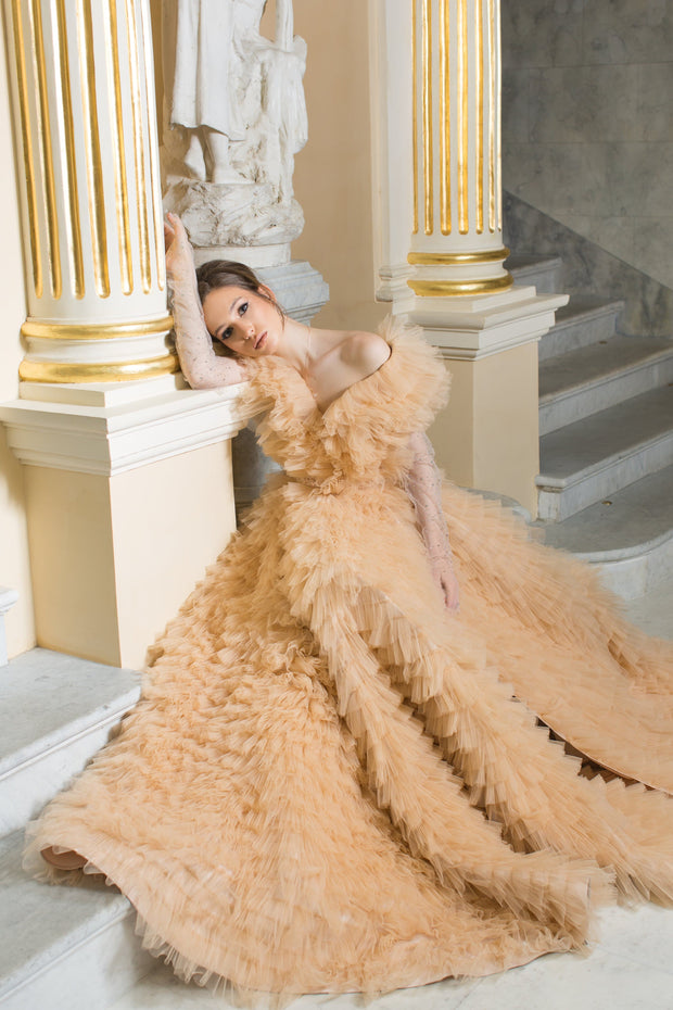 Claudia V-Neck Ruffle Tulle Gown with Transparent Long Sleeves