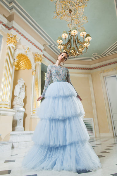 Isadora Beaded Long Sleeve Tulle Gown with Ruffle Skirt