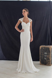 Deep Neckline Open Back Gown with Precious Gems - Amelie Baku Couture