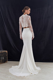 Top Gown with Crystals and Pearls & Skirt with Buttons and a Slit