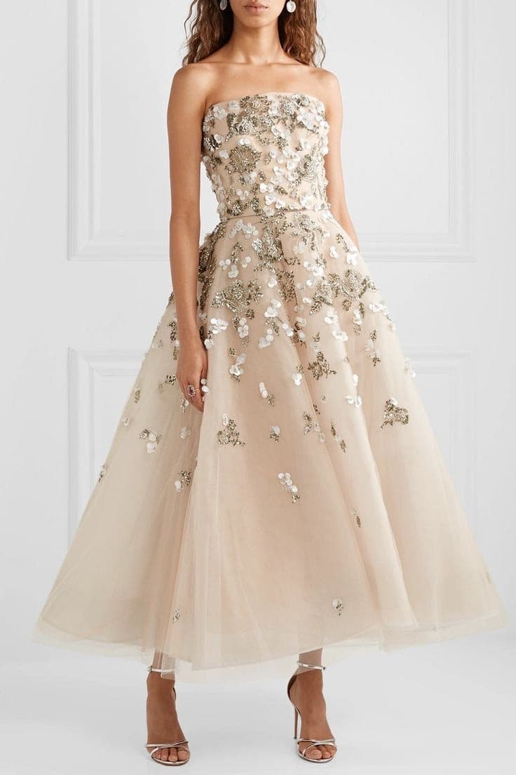 Jasmine Gray Embelished Tulle Gown - Amelie Baku Couture