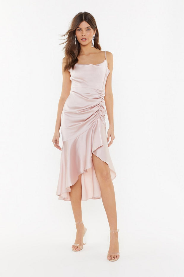 Pink Satin Midi Dress from Bloom collection - Amelie Baku Couture