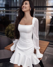Long Sleeve Midi Dress in White