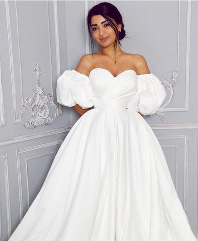 Ophelia puffed sleeves bridal dress