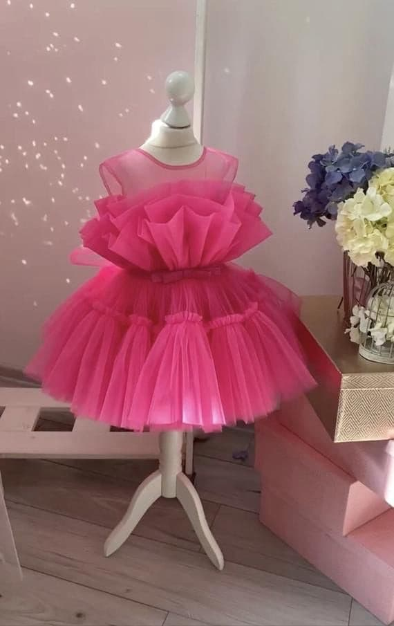 Tulle gown for girl pink - Amelie Baku Couture
