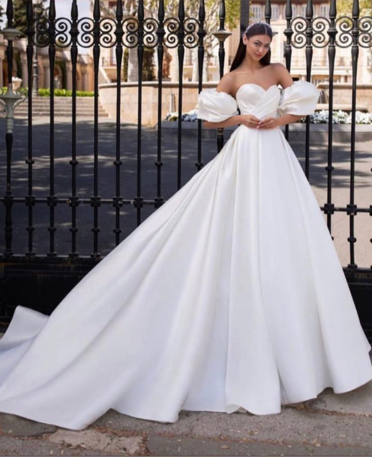 Off the shoulders wedding dress