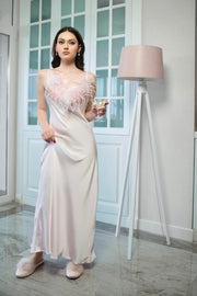 Strapped Cowl Feather Neck Satin Dress from Bloom collection - Amelie Baku Couture