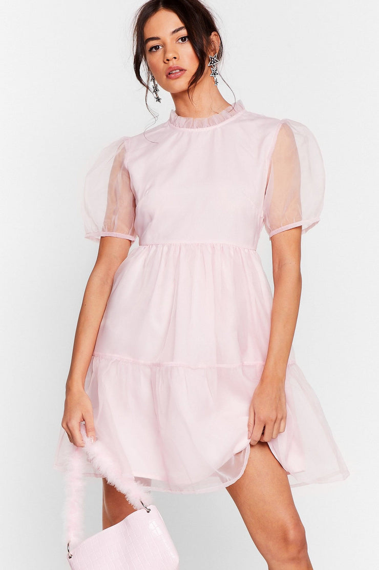 Organza Mini Dress in Pink