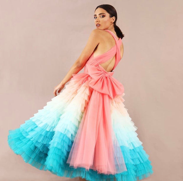 Katelynn colored ombre midi gown