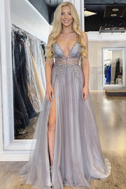 Floor length evening gown with cut-out in front - Amelie Baku Couture