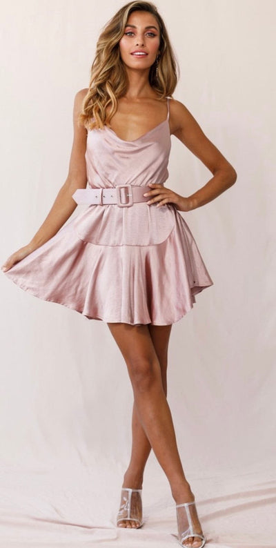 Satin Cowl Neck Dress Rose
