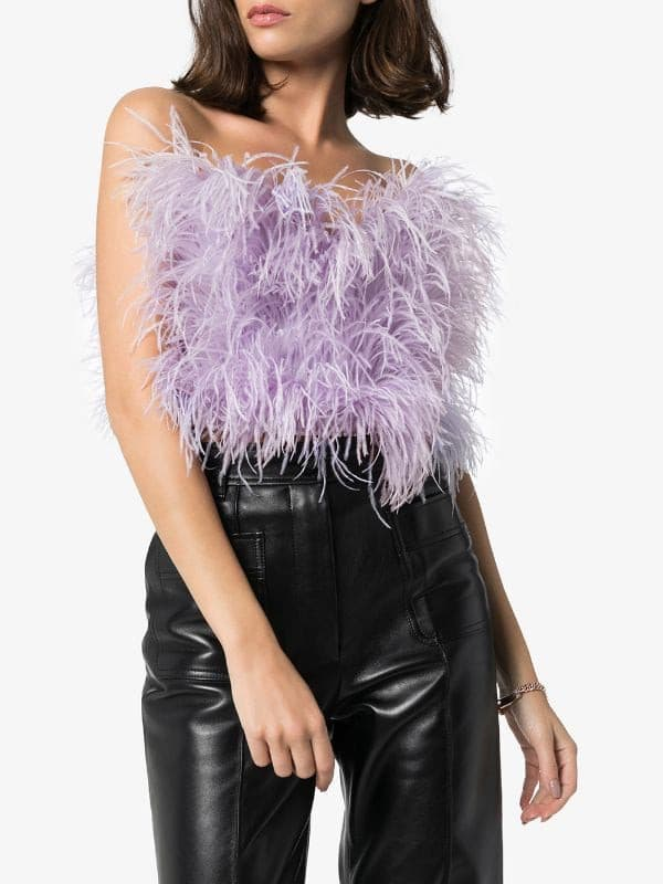 Lilac ostrich feather bandeau top