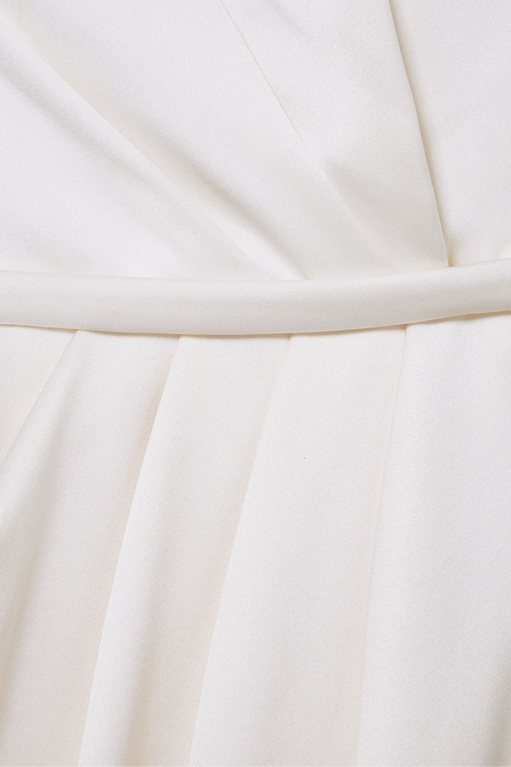One-shoulder feather and tulle-trimmed silk-satin gown
