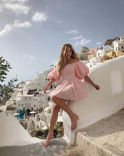 Pink off shoulder mini dress from bloom collection - Amelie Baku Couture