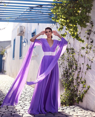 Violet Chiffon Dress - Amelie Baku Couture
