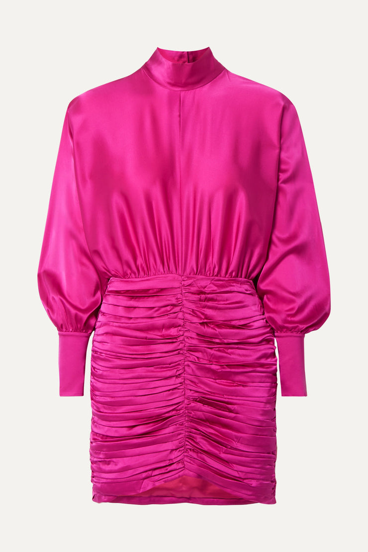 Ruched mini dress in vibrant fuchsia