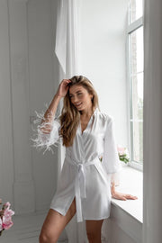 White Robe with feather details - Amelie Baku Couture
