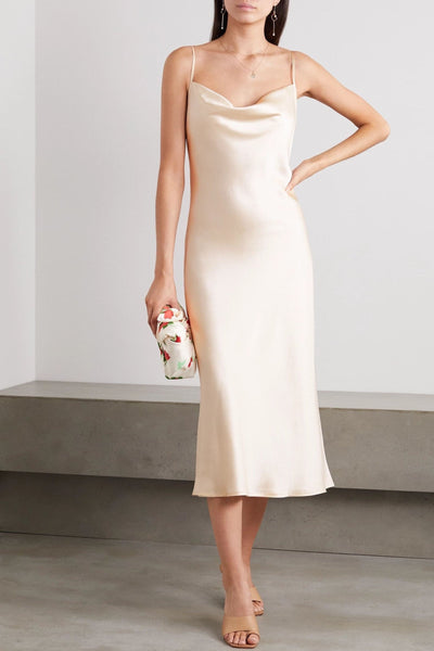 Draped silk-satin midi dress