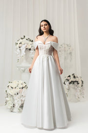 Off-Shoulder Handmade Adorned Corset and Exquisite Skirt