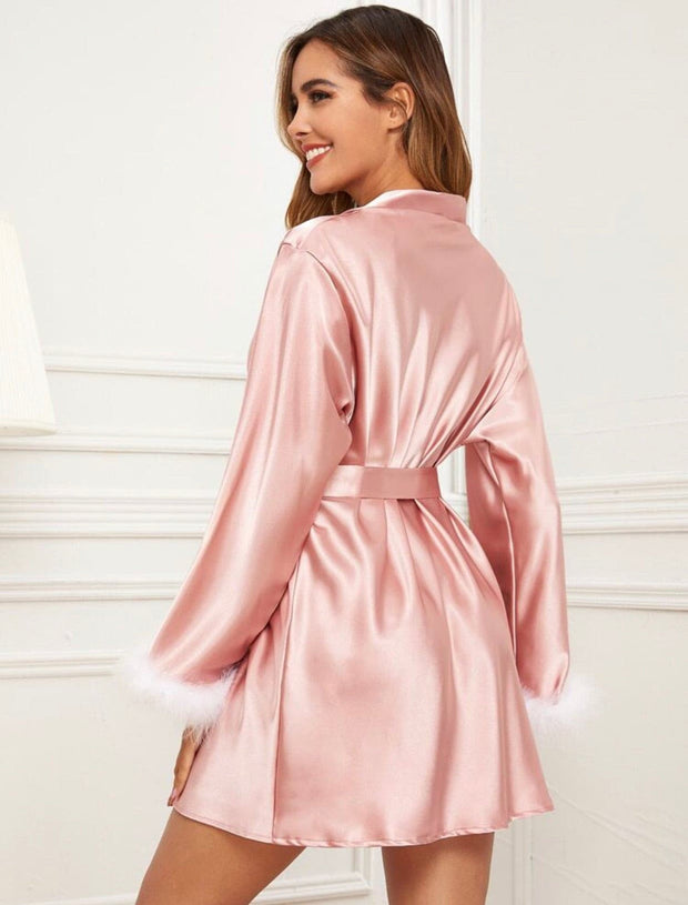 Contrast Feather Cuff Belted Satin Robe