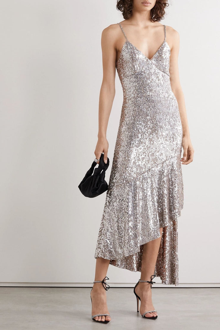Stella Asymmetric sequined tulle midi dress