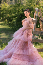 Ruffled Pink Off Shoulder Gown