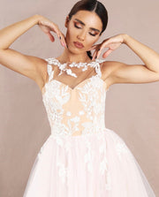 Creamy dress with 3D flowers