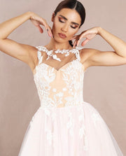 Creamy dress with 3D flowers - Amelie Baku Couture