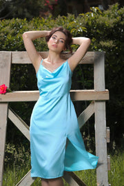 Blue Midi Satin Dress