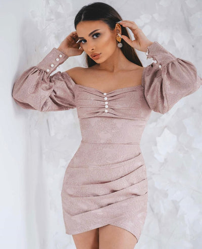 Pink long sleeve dress from Bloom collection - Amelie Baku Couture