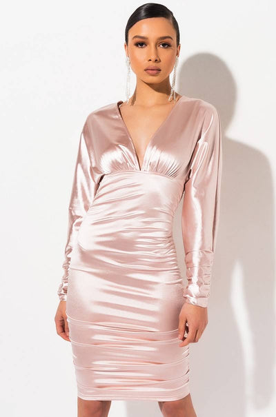 Long Sleeve Satin Midi Dress - Amelie Baku Couture