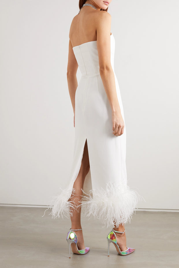 Strapless feather-trimmed crepe midi dress - Amelie Baku Couture