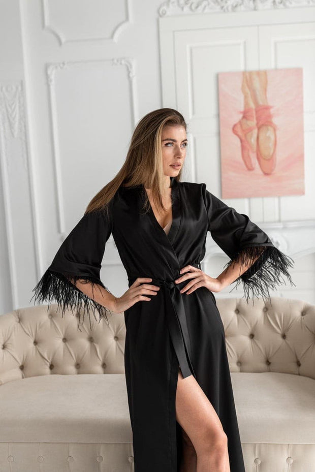 Black Robe with feathers - Amelie Baku Couture