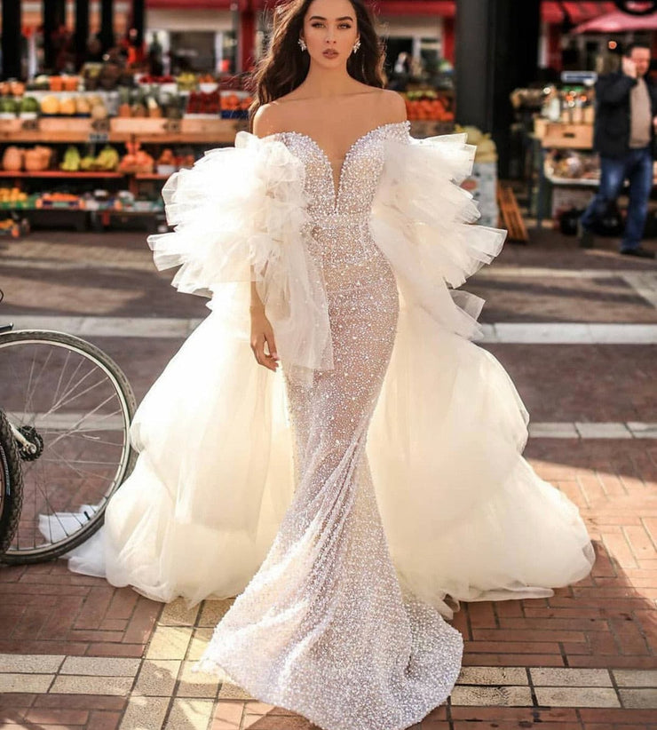 Crystal Pearls Mermaid Detachable Tulle Bridal Dress