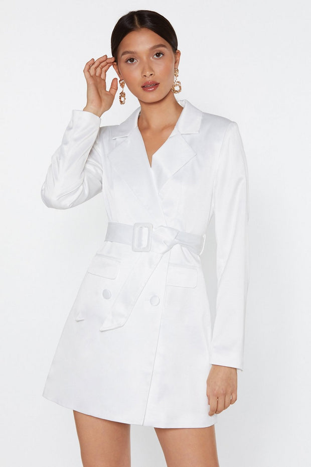 White Satin Blazer Dress with V-Neckline in