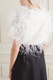 White Feather-embellished top