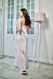 Strapped Cowl Feather Neck Satin Dress from Bloom collection