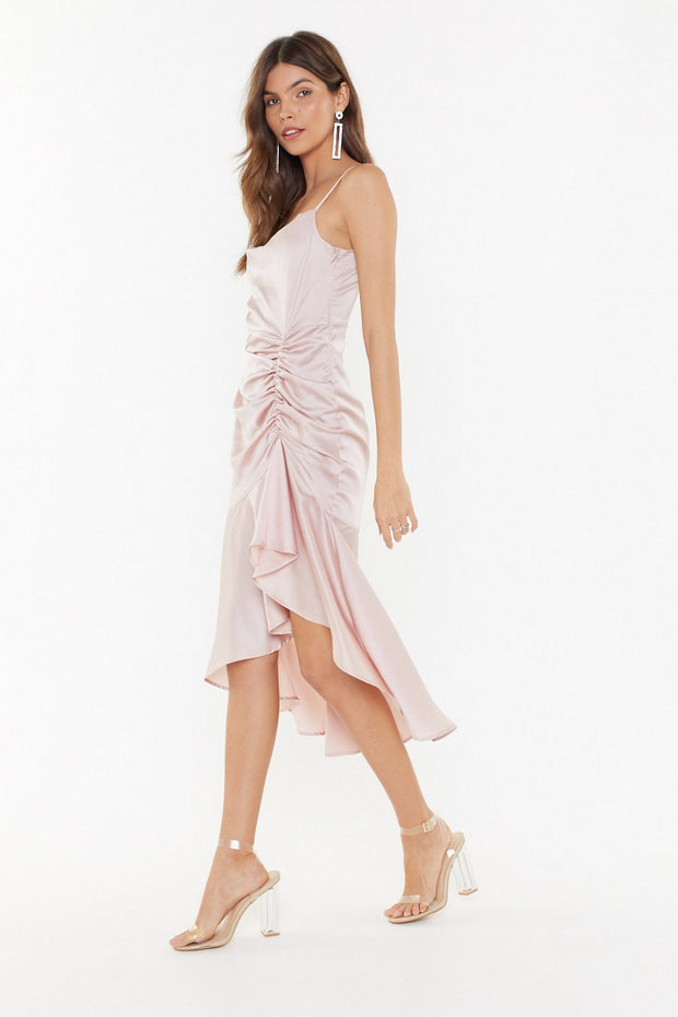 Pink Satin Midi Dress from Bloom collection