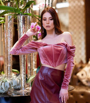 Off-shoulder Long Sleeve Velvet Corset from Bloom collection