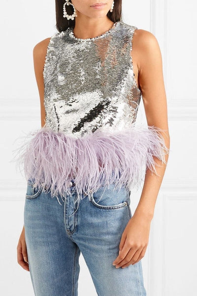 Feather-Trim Sequin Top