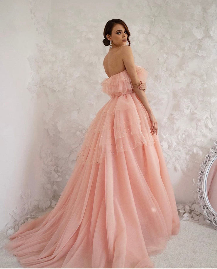 Eva Gown-Peony Collection -Pink With Gold Details-By Amélie