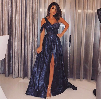 Sofina deep blue sparkle dress