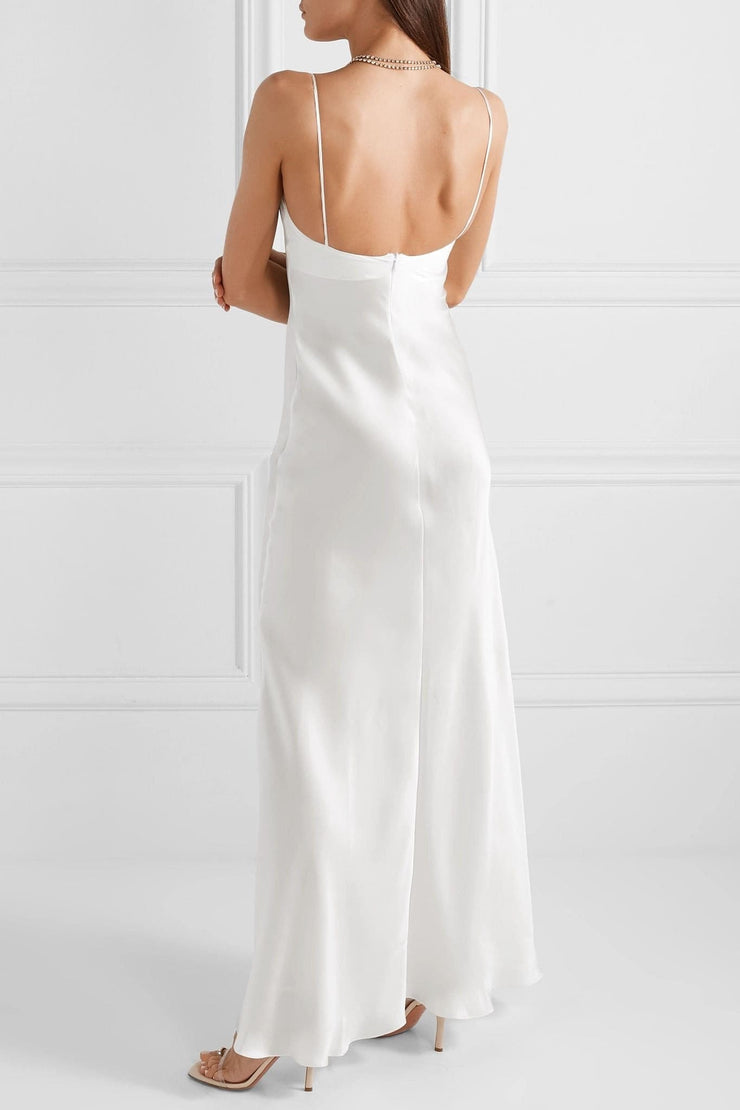 Bianca Maxi Silk-satin dress in White